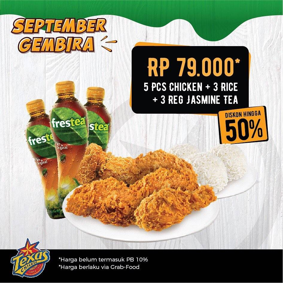 Promo diskon Texas Chicken Promo September Gembira via Grab mulai Rp. 18.000