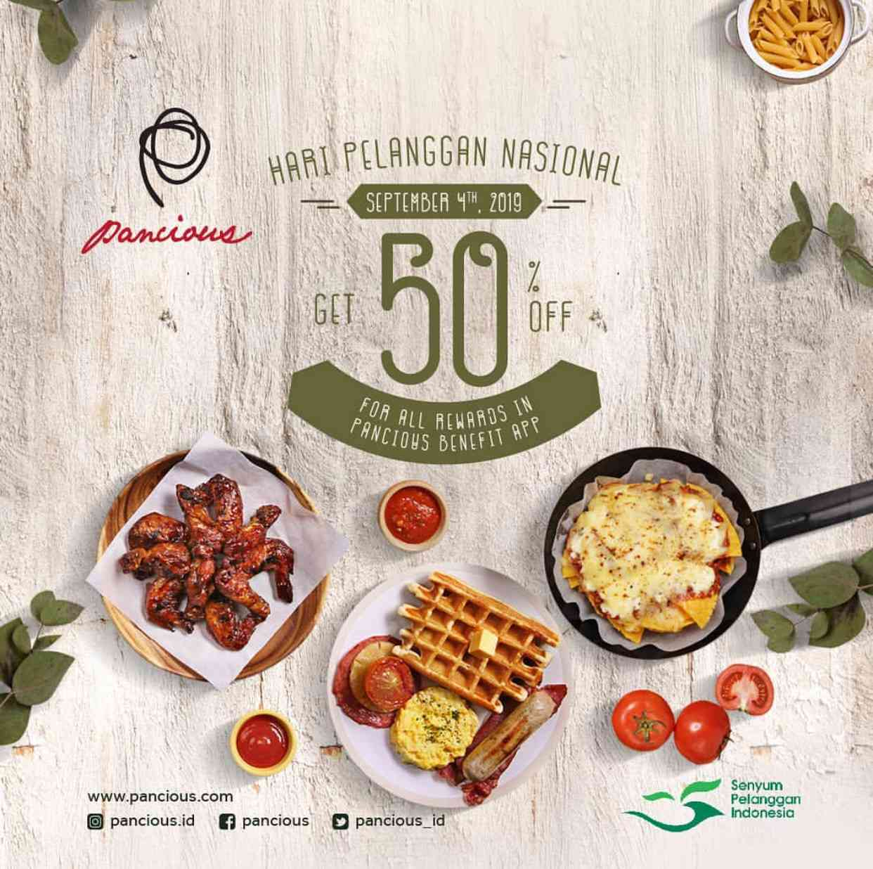 Pancious Promo Hari Pelanggan Nasional Discount 50% Off for All Rewards in Pancious Benefit App