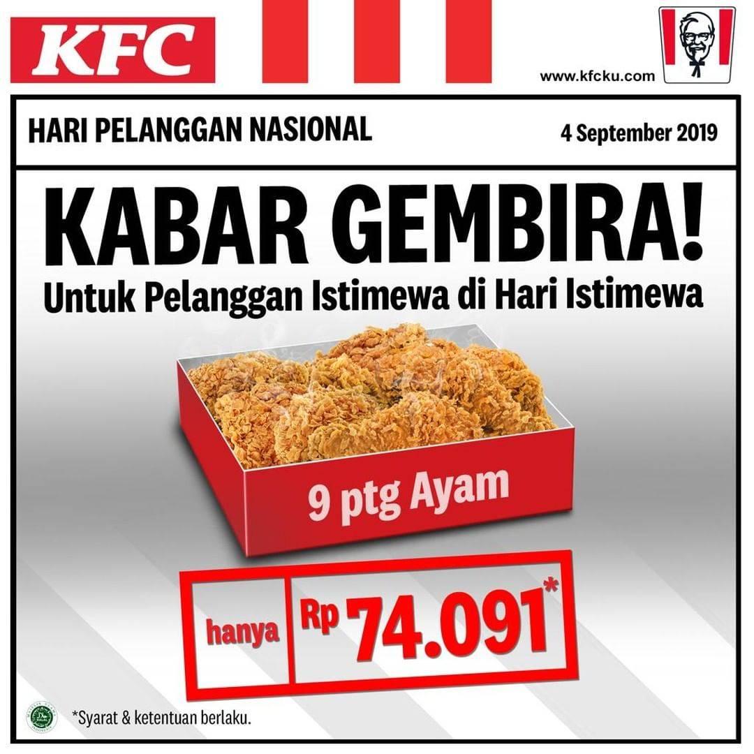 KFC Promo Paket 9 potong ayam Hanya Rp. 74.091*