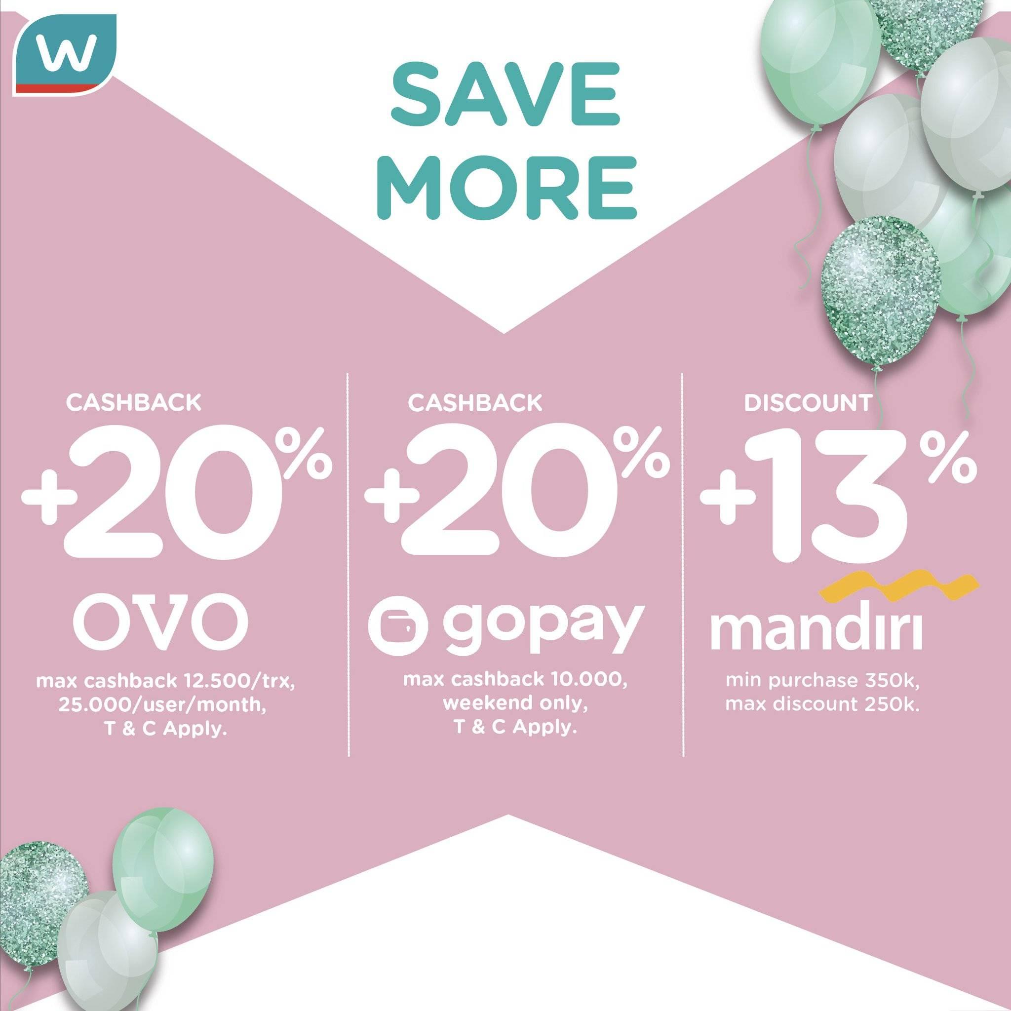 Diskon Watsons Cashback 20% dengan GOPAY & OVO dan 13% dengan Kartu Kredit atau DebitMandiri