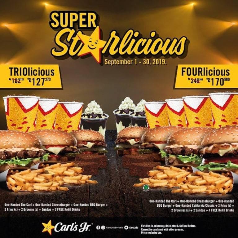 Carls Jr Promo Starlicious special offer – Paket BerTiga dan BerEmpat mulai Rp. 127.273