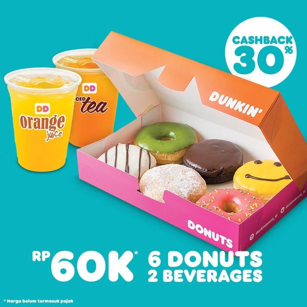 Diskon Dunkin Donuts Promo 6 Donuts + 2 Minuman hanya Rp. 60.000