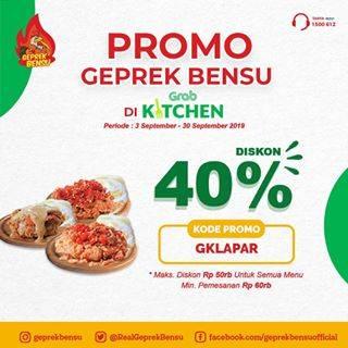 Diskon Geprek Bensu Promo Spesial di Grab Kitchen Diskon 40%