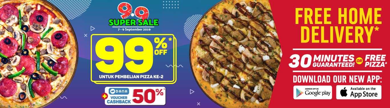 DOMINO'S PIZZA 9.9 SUPER SALE – DISKON 99% untuk pembelian Pizza ke 2