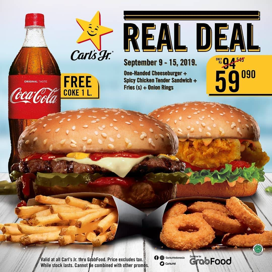 Diskon CARLS JR. Real Deal Paket Hemat One-Handed Cheeseburger + Spicy Chicken Tender Sandwich + Fries(s) +