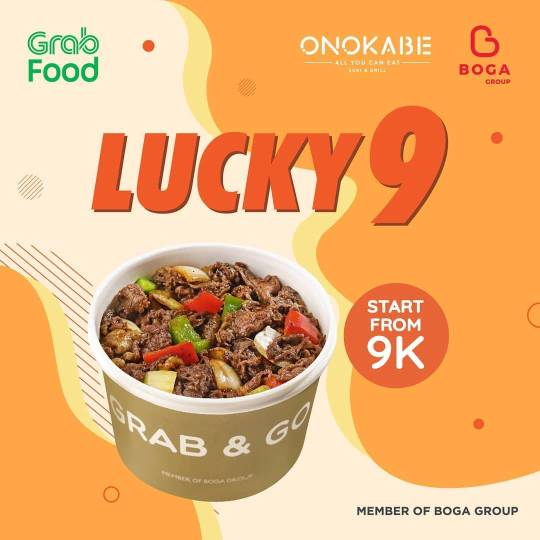 Onokabe Promo Lucky 9 Menu Pilihan mulai Rp. 9ribuan via GRABFOOD