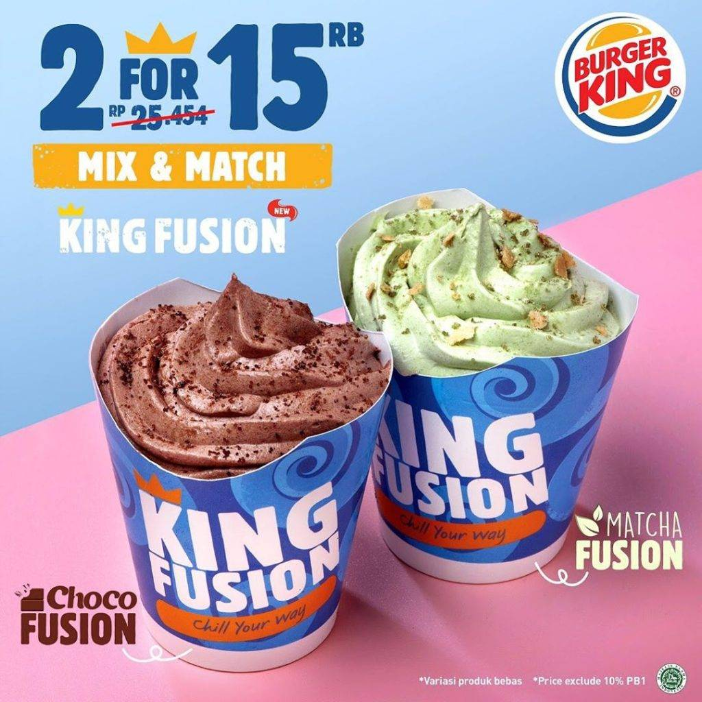 Diskon Burger King New Fusion Ice Cream Harga Spesial 2 Cup Hanya Rp. 15ribu