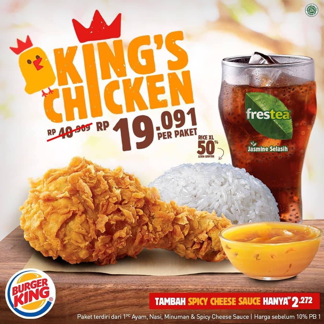 Diskon Burger King Promo King's Chicken – Paket Ayam + Nasi + Minum hanya Rp. 19.091