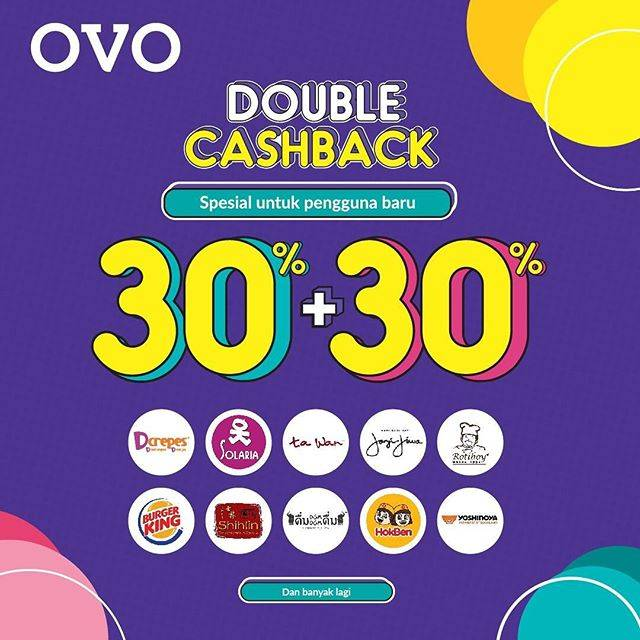 OVO Double Cashback 30% + 30% khusus pengguna Baru