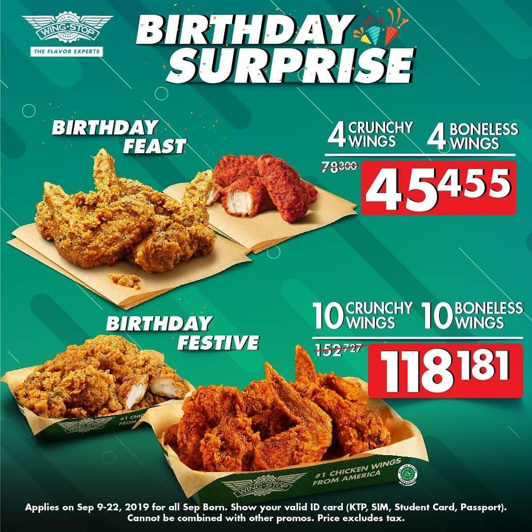 Diskon Wingstop Birthday Surprise Paket Spesial Ulang Tahun mulai Rp. 45.455 saja