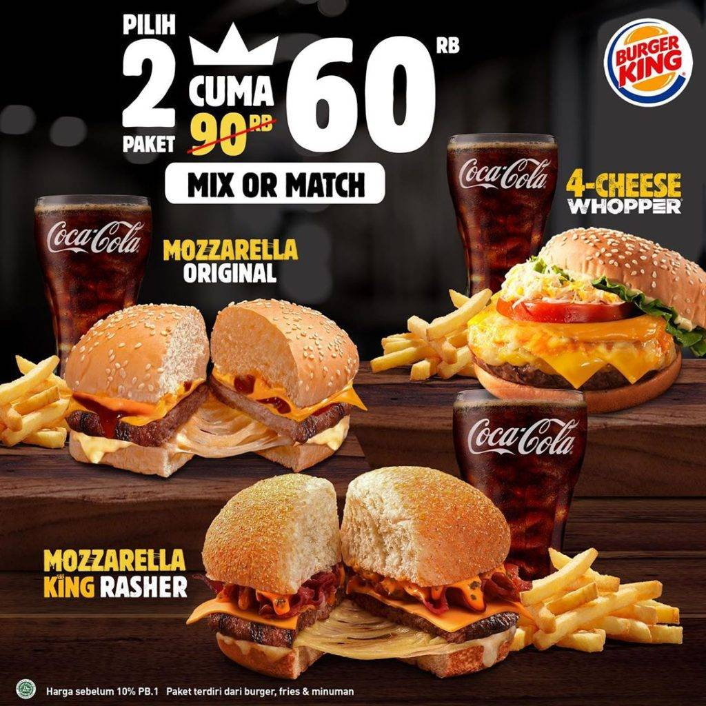 Burger King Promo Jr Meal Beli 2 paket cuma Rp. 60ribu