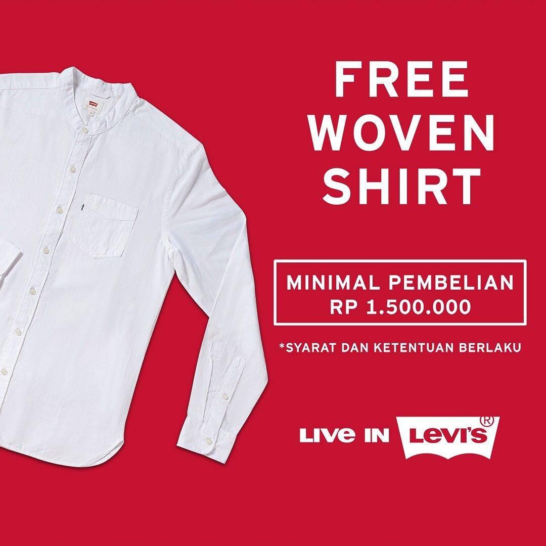 Diskon Levi's Gifts With Purchase Dapatkan Woven Shirt, T-Shirt atau Powerbank