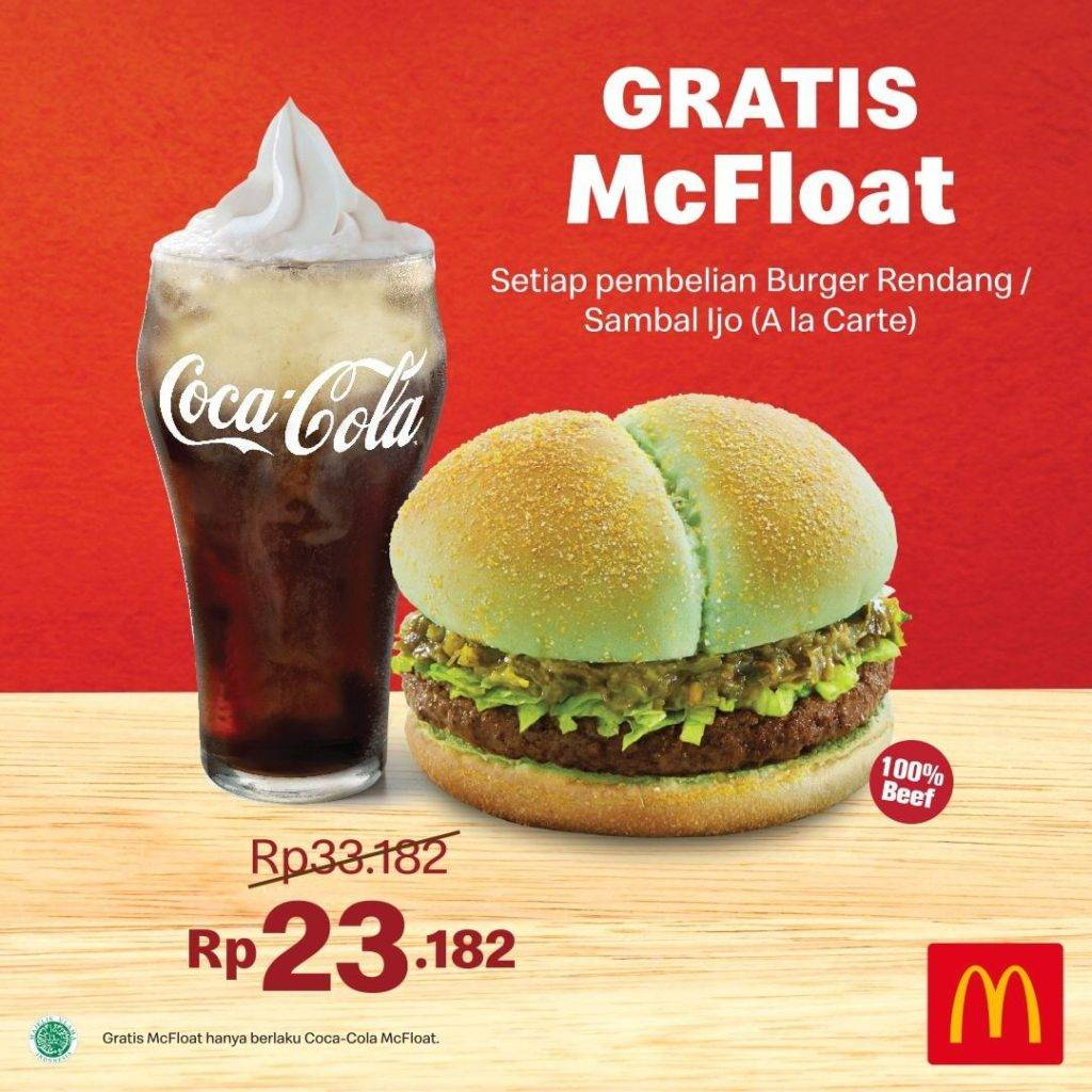 Diskon McDonalds Promo Gratis McFloat setiap pembelian Burger Sambal Ijo atau Burger Rendang A la Carte