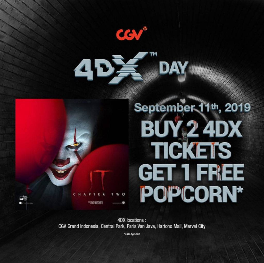 CGV Promo WEDNESDAY is 4DX DAY – Beli 2 Tiket 4DX IT Chapter Two Dapat 1 Popcorn Gratis