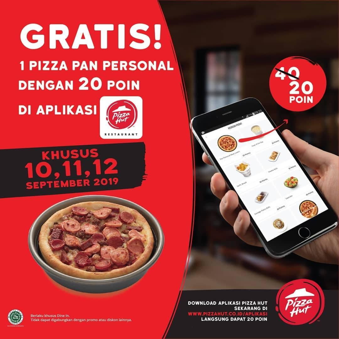 Diskon Pizza Hut gratis 1 Pizza Pan Personal dengan 20 Poin di Aplikasi Pizza Hut