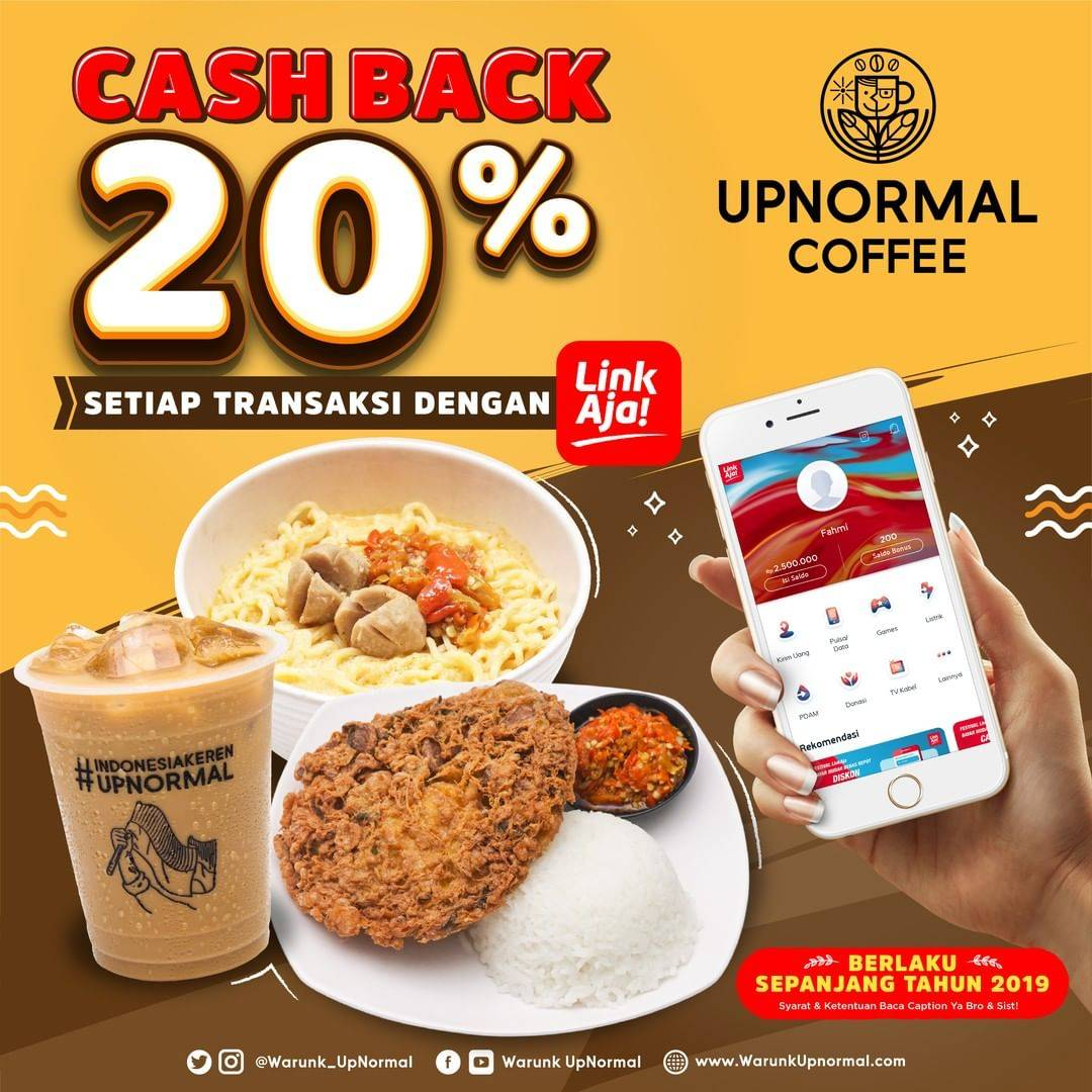 Warunk Upnormal Cashback 20% dengan LinkAja