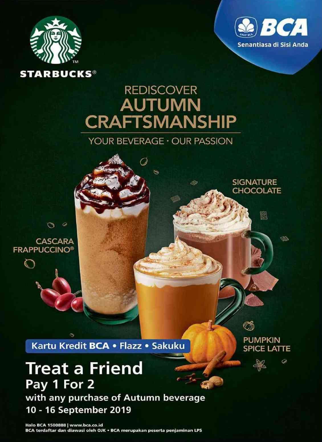 Starbucks Promo Pay 1 For 2 Beli minuman spesial Autumn Gratis minuman dengan Kartu BCA