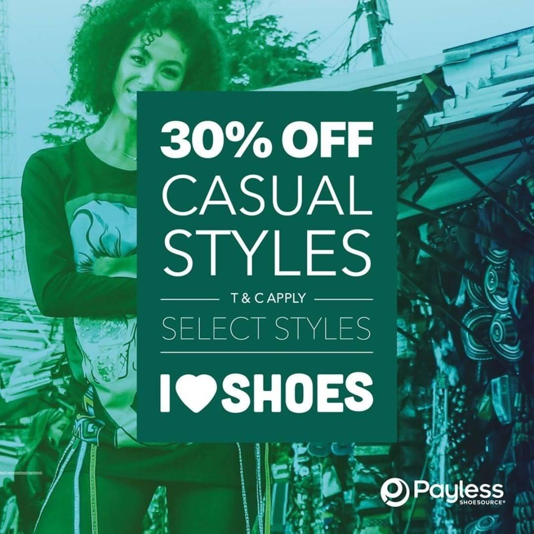 Diskon Payless Promo Diskon 30% off untuk sepatu casual dan sandal gaya pilhan