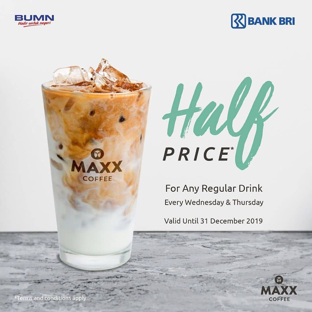 Maxx Coffee Promo Setengah Harga untuk minuman reguler setiap rabu dan kamis dengan BRI