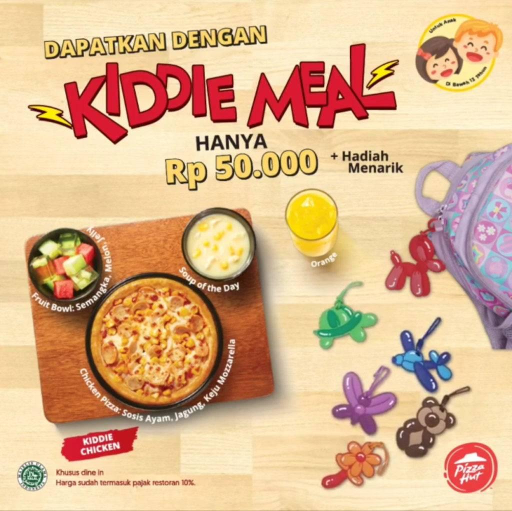Pizza Hut Promo Menu Baru Kiddie Meal hanya Rp. 40.000* + Merchandise khusus untuk anak dibawah 13 t