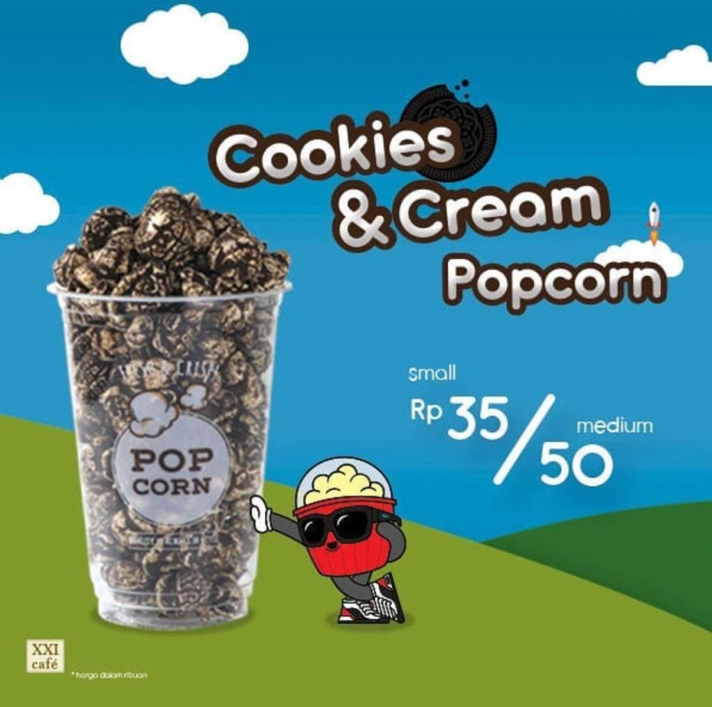 XXI Cafe Menu PopCorn terbaru Cookies and Cream, Harga mulai Rp. 35.000