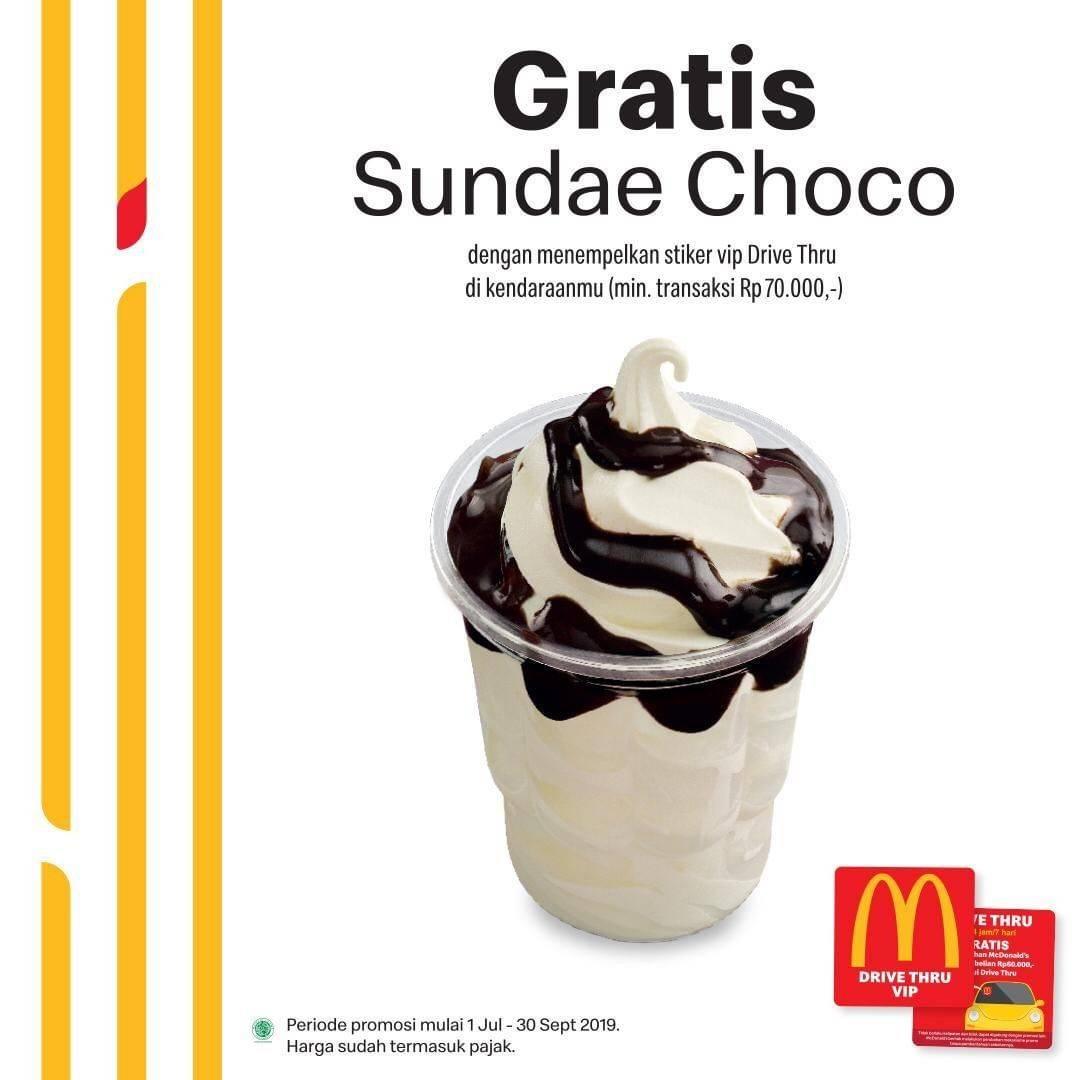 Diskon McDonalds Promo Drive Thru Special Treat – GRATIS Sundae Choco