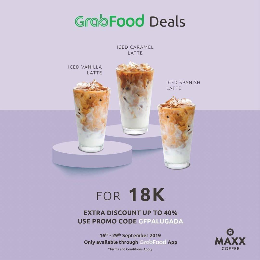 Diskon Maxx Coffee Promo Iced Caramel Latte atau Iced Vanilla Latte atau Iced Spanish Latte hanya Rp. 18.00