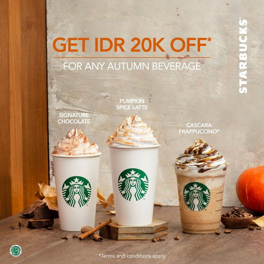 STARBUCKS Promo DISKON Rp. 20.000 untuk Minuman Autumn Terbaru