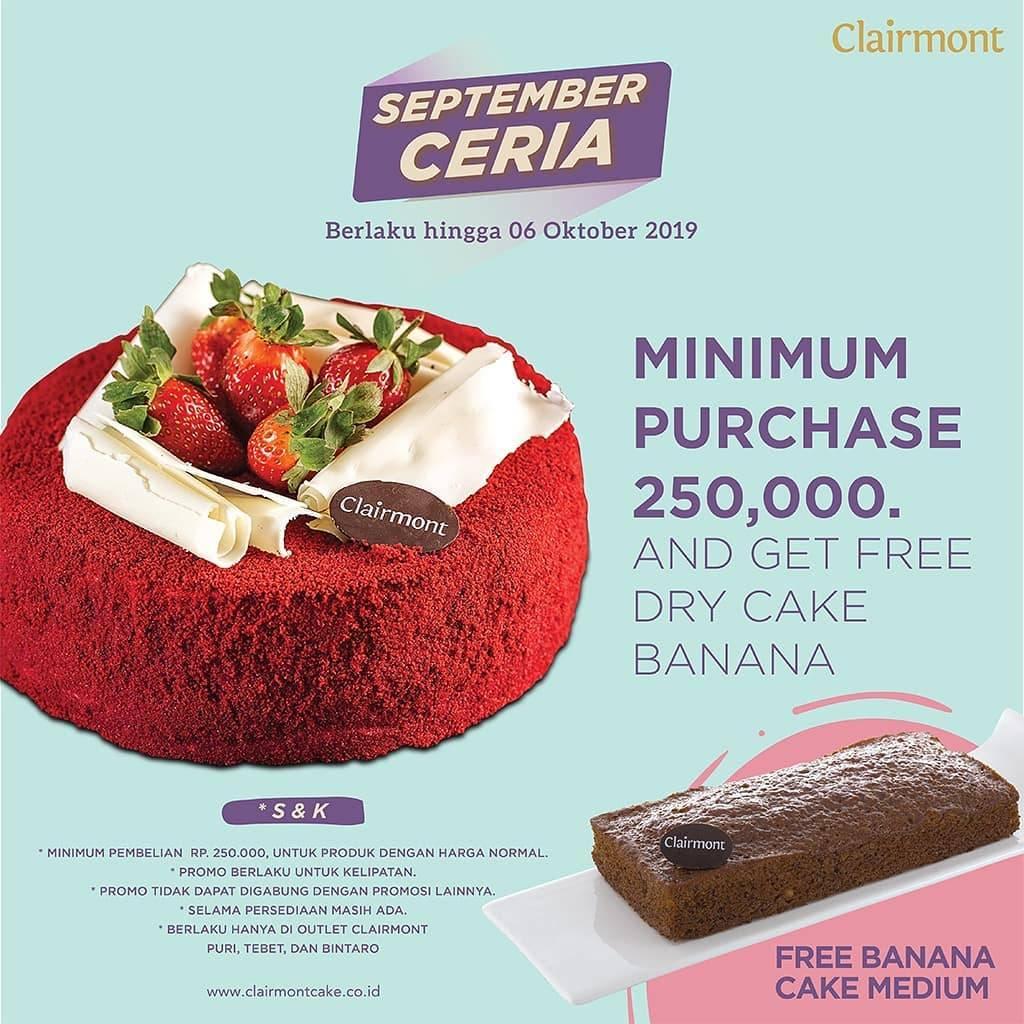 CLAIRMONT CAKES Promo GRATIS 1 pcs Cookies Xs atau Dry Cake Banana