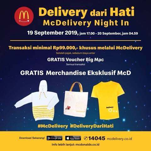 McDonalds McDelivery Night in- Gratis Big Mac & Marchandise khusus Pemesanan Mc Delivery