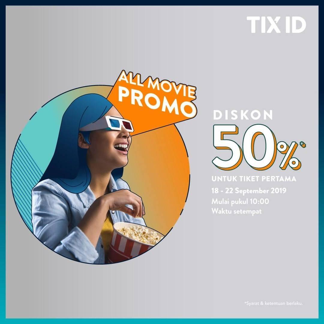 TIX.ID Promo Diskon 50% Untuk Tiket Pertama Semua Film