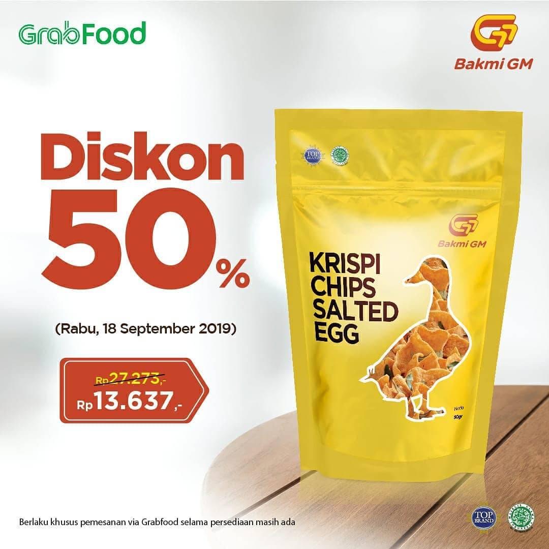 BAKMI GM Promo Diskon 50%  Krispi Chips Salted Egg seharga Rp13.637,-