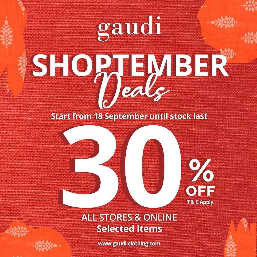 GAUDI Shoptember Deals 30% off for selected item