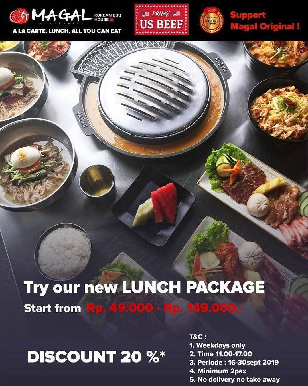 MAGAL Korean BBQ House Promo Lunch Package start from Rp. 49.000 – Rp. 149.000