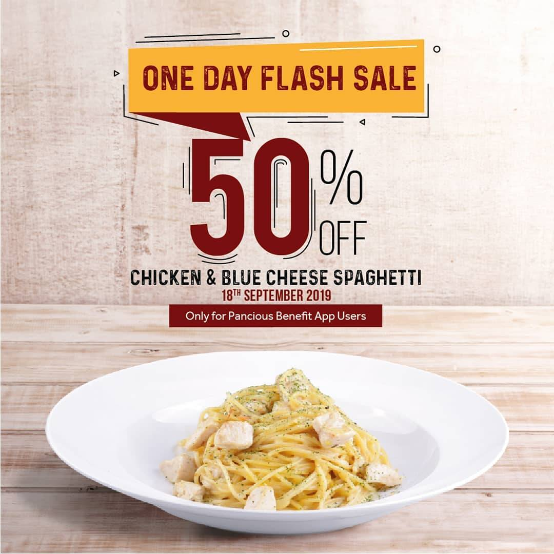 Diskon Pancious Promo One Day Flash Sale – DISKON 50% untuk Menu Chicken & Blue Spaghetti