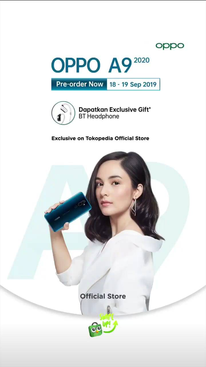 PRE ORDER OPPO A9 2020 via Tokopedia Official Store – Dapatkan Exclusive Gift BT Headphone
