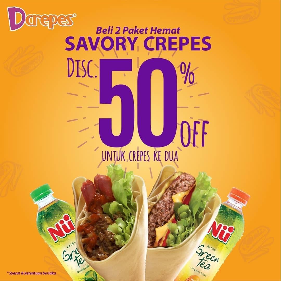 Diskon D'CREPES Promo Diskon 50% untuk pembelian kedua Paket Nu Tea Savory Crepes