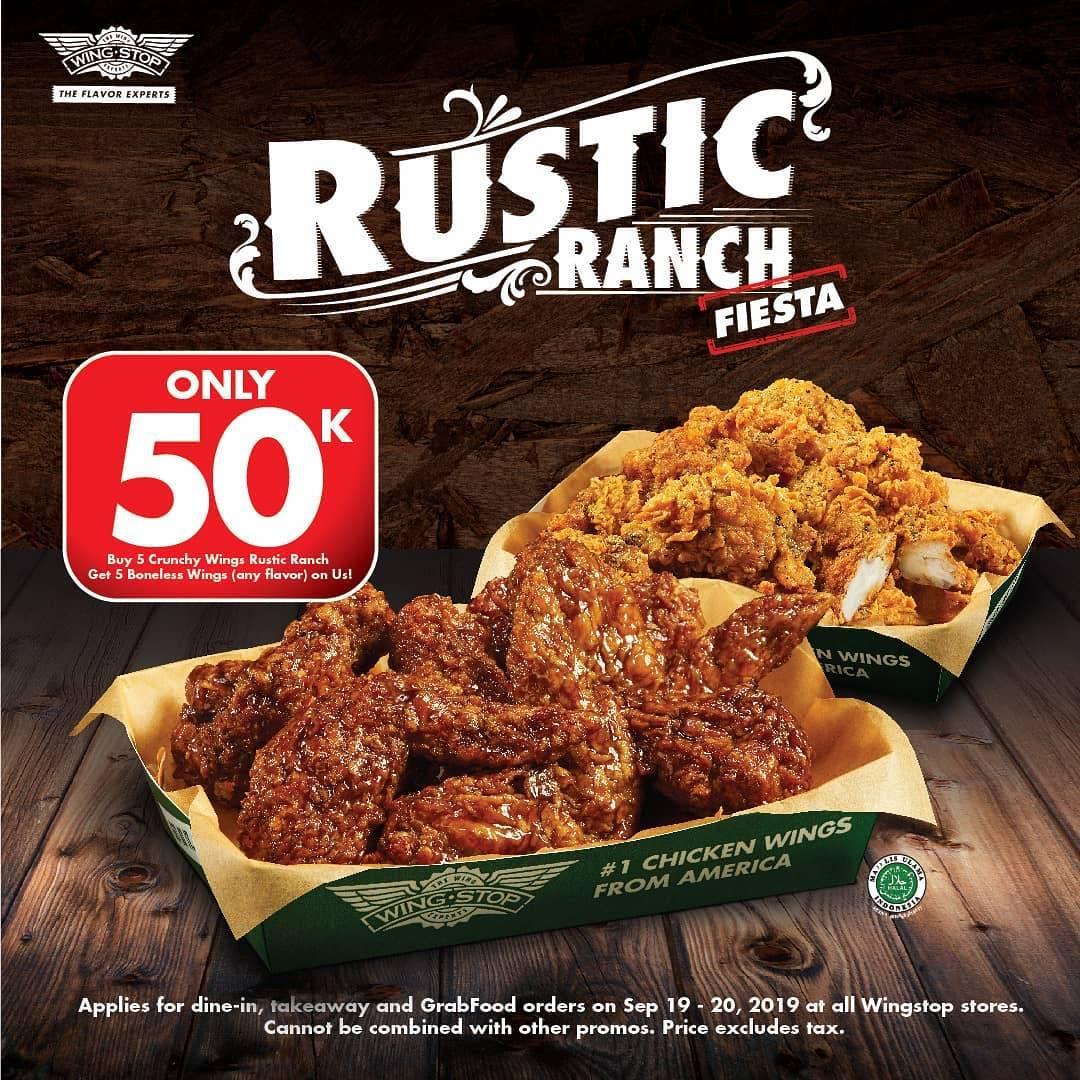 WINGSTOP Promo Only 50.000, Buy 5 Rustic Ranch Crunchy Wings Free 5 Boneless Wings