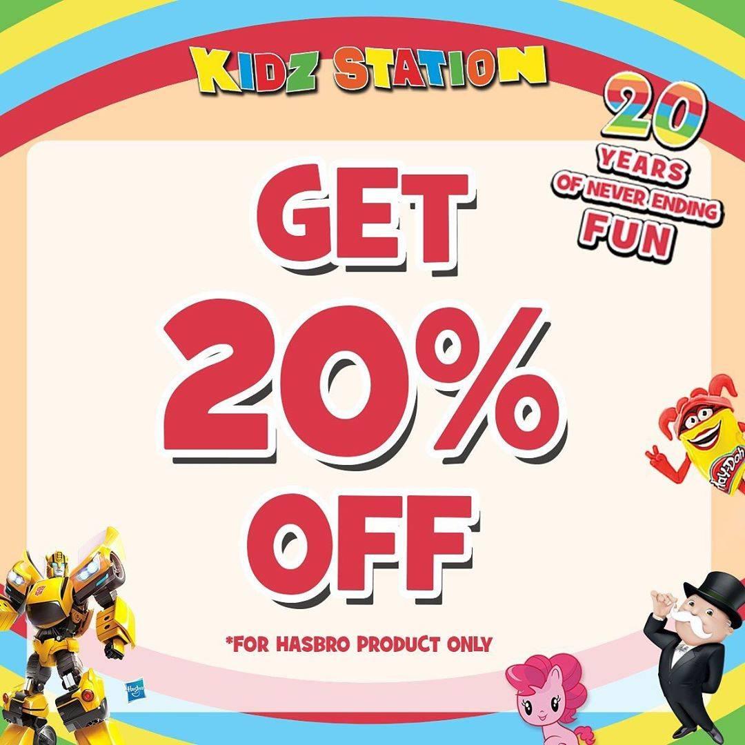KIDZ STATION Birthday Treat Dapatkan Diskon 20% untuk semua product Hasbro dengan harga normal