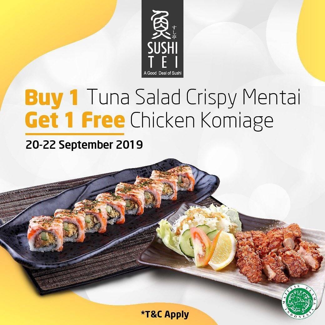 Diskon SUSHI TEI Promo Buy 1 Tuna Salad Crispy Mentai Get 1 Free Chicken Komiage with LINE Coupon