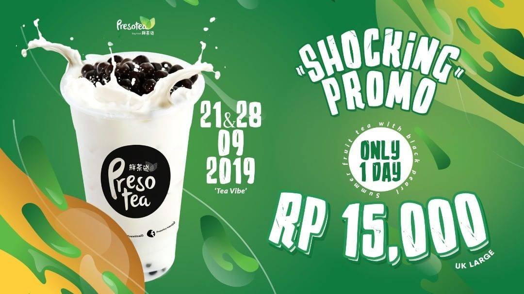 Diskon PRESOTEA Shocking Promo Summer Milk Tea ukuran LARGE Hanya 15.000