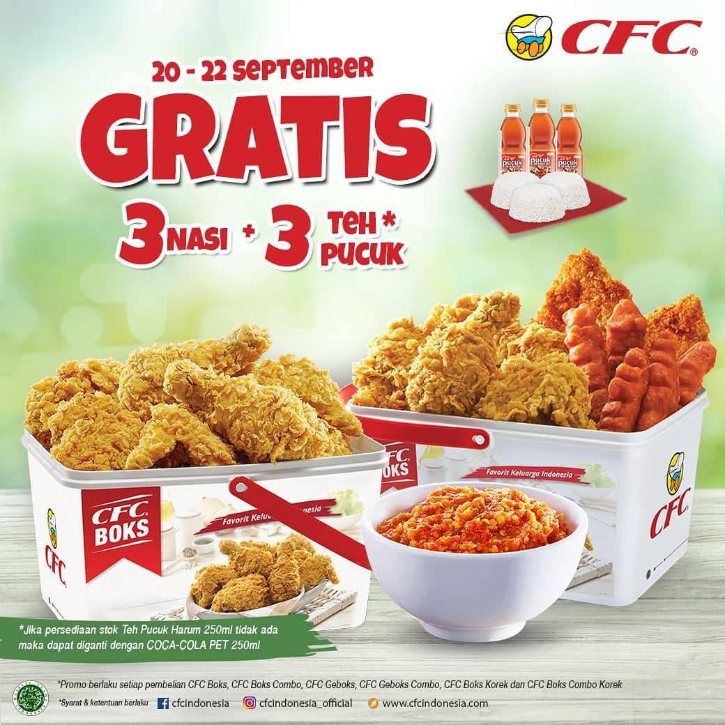 CFC Promo Gratis 3 Nasi + 3 Teh Pucuk Setiap Pembelian Paket CFC Boks