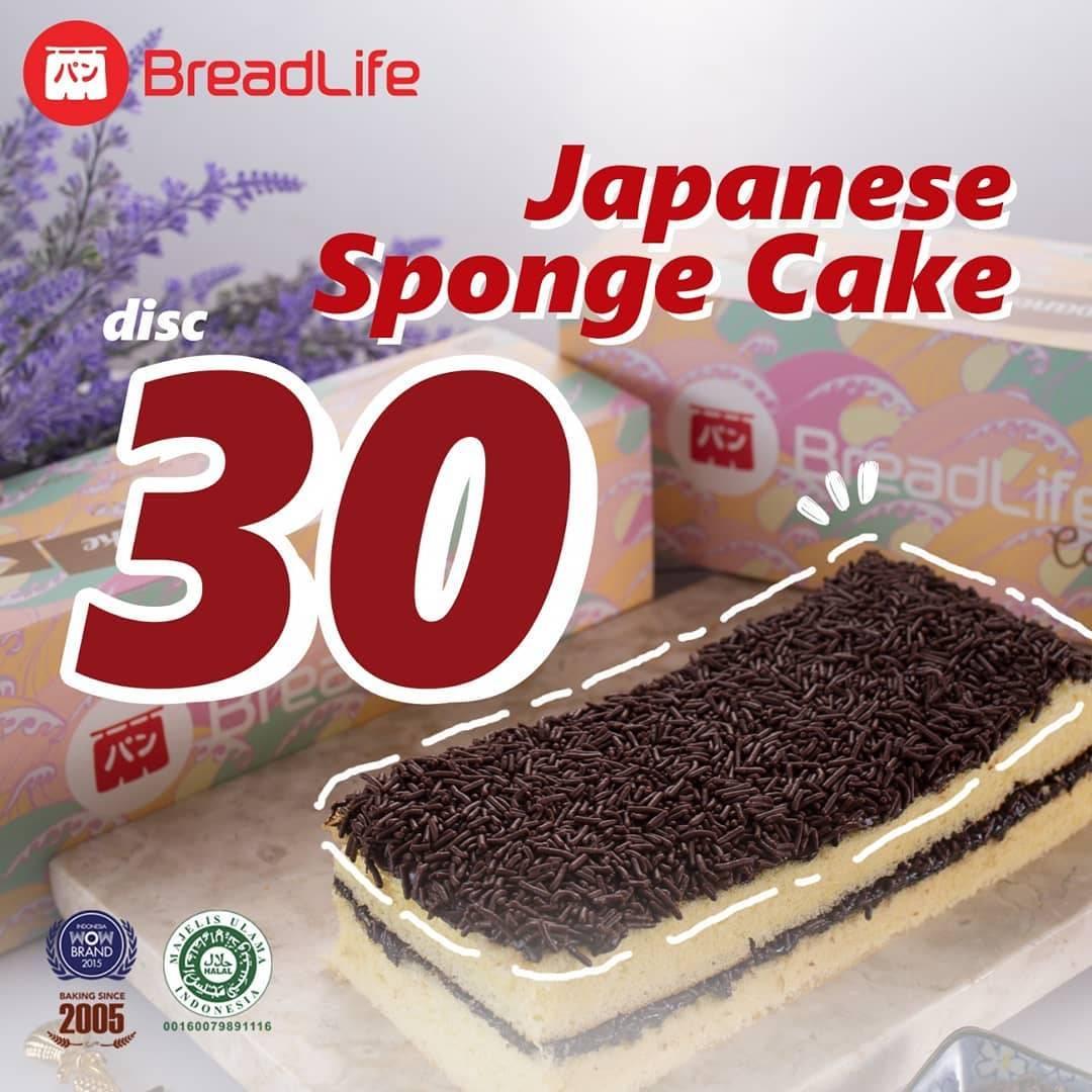 Diskon BREADLIFE Promo Diskon 30% untuk produk Japanese Sponge Cake dengan KUPON LINE