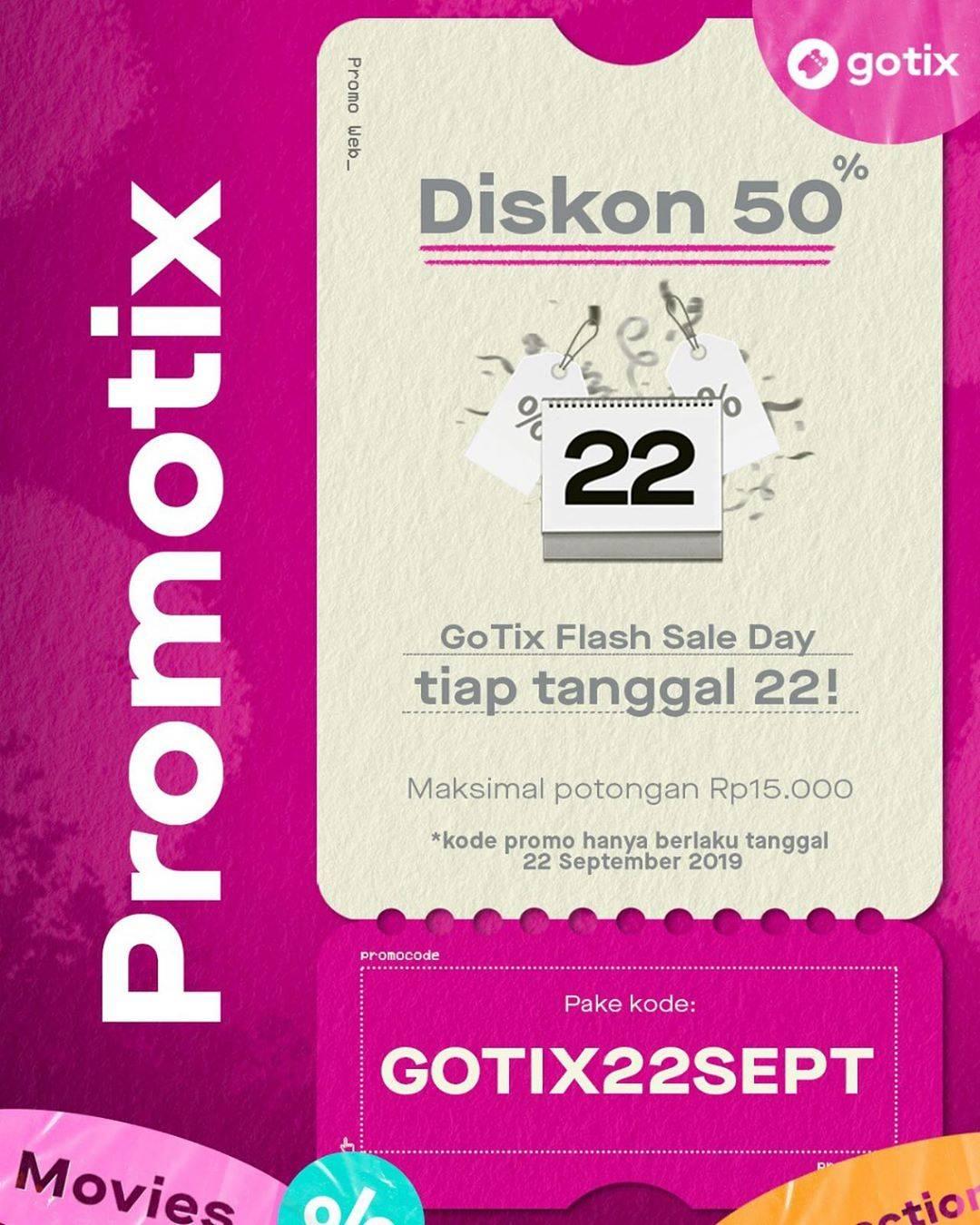 GOTIX FLASH SALE DAY! DISKON 50% untuk Tiket Nonton dan Tiket Tempat Wisata