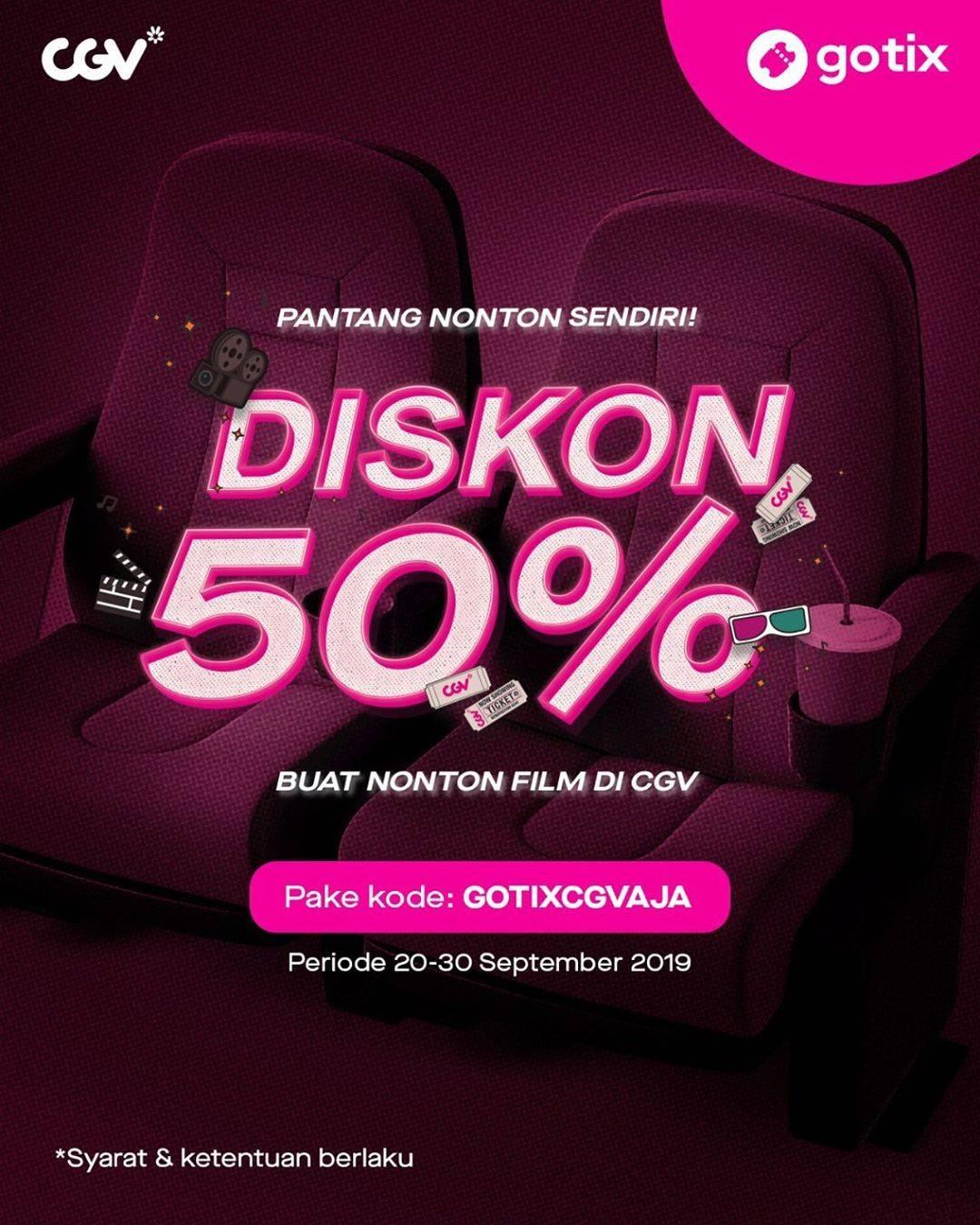 GO-TIX Promo DISKON 50% untuk pemesanan Tiket Nonton di CGV