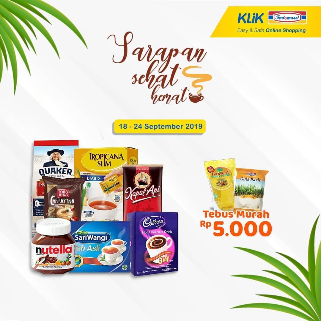INDOMARET Promo Sarapan Sehat, Hanya Rp. 5.000 setiap belanja produk untuk Breakfast