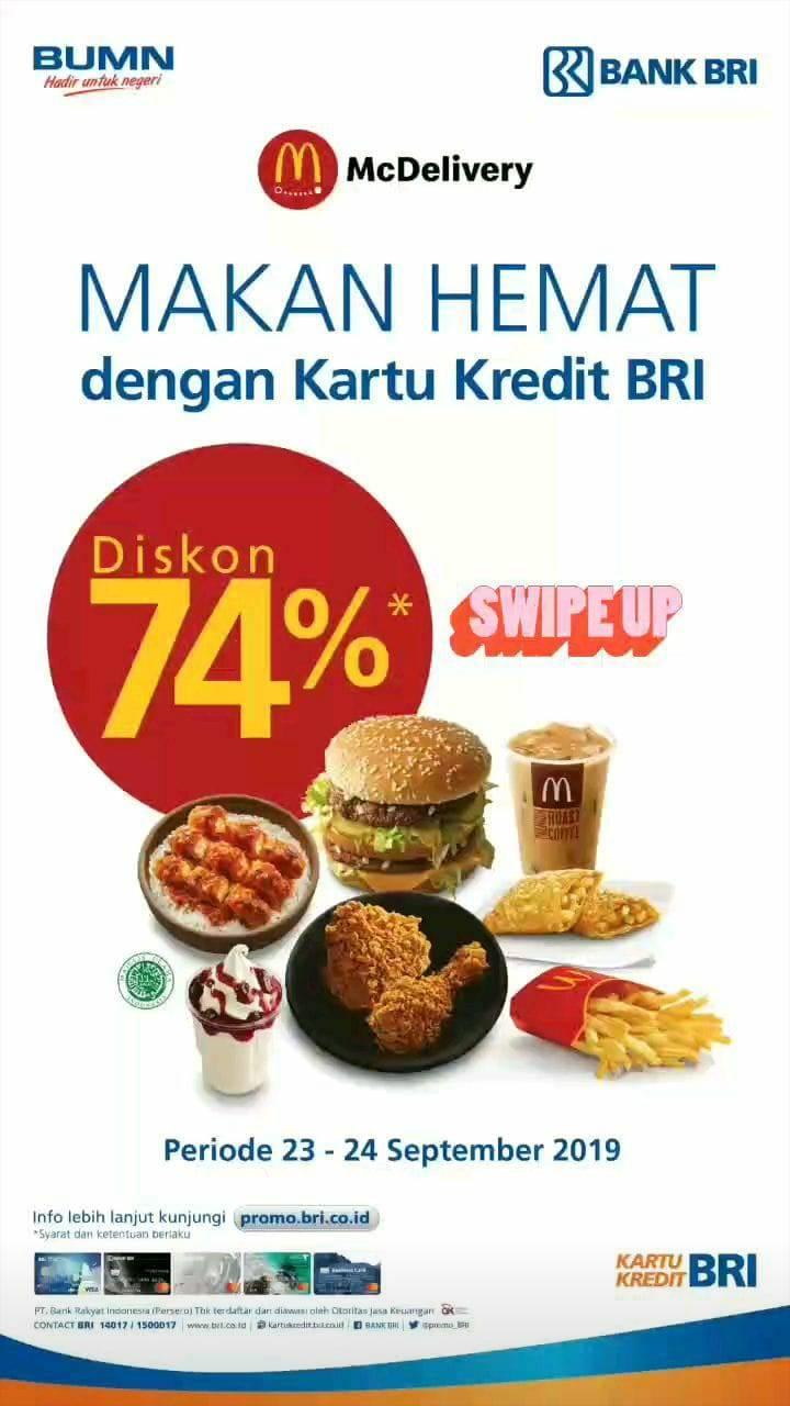 McDonalds Promo Diskon 74% khusus pemesanan via McDelivery dengan Kartu Kredit BRI