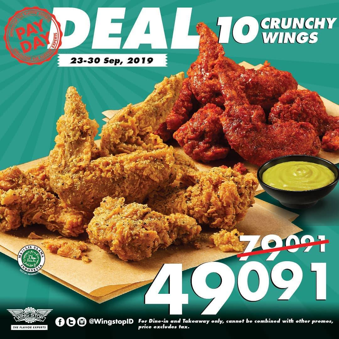 Diskon WINGSTOP PayDay Deal Dapatkan Paket 10 Crunchy Wings Hanya Rp. 49.091