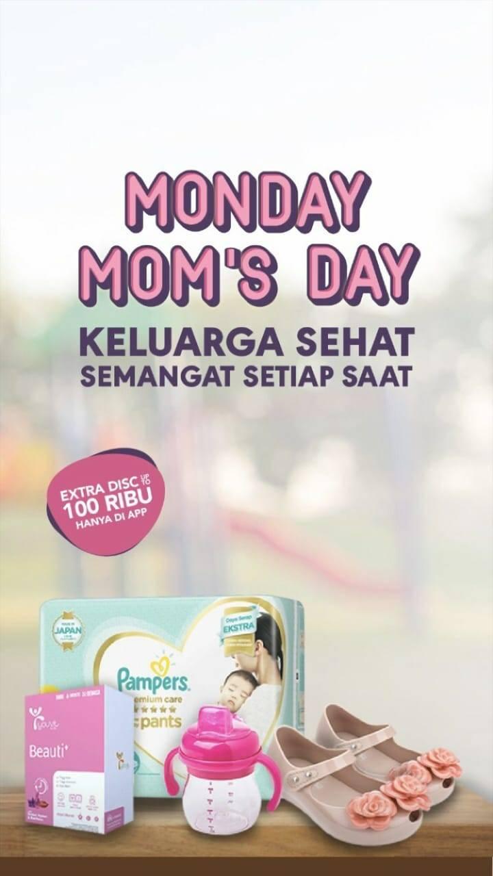 Diskon BLIBLI.COM MONDAY MOM'S DAY! Extra Diskon up to 7% hingga Rp 100.000 untuk produk Ibu & Anak!