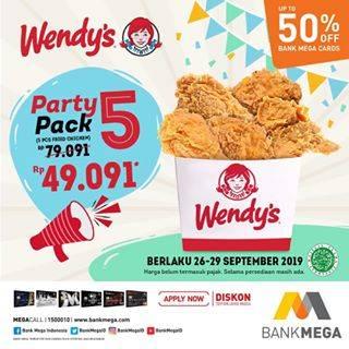 WENDY'S Promo Harga Spesial Paket Party Pack 5 hanya Rp. 49.091